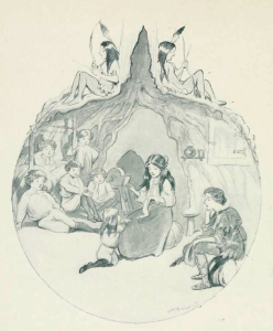 1907 illustration by Oliver Herford of Wendy and the Lost Boys. Public domain (OH died 1935). This work is in the public domain in the United States because it was published (or registered with the U.S. Copyright Office) before January 1, 1923.